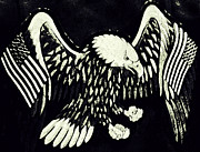 Gray And Black Beak Posters - On Eagles Wings Patriotism Poster by Patricia Januszkiewicz