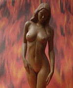 Wooden Sculptures Prints - On Fire - Sculpture of Nude Woman Print by Carlos Baez Barrueto