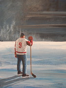 Hockey Player Paintings - On Frozen Pond Gordie by Ron  Genest