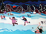 Kids Playing Hockey Paintings - On Frozen Pond by Joyce Gebauer