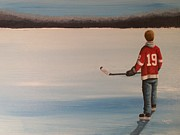 Outside Ice Paintings - On Frozen Pond -  Stevie by Ron  Genest