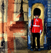Buckingham Palace Digital Art Framed Prints - On Guard For Thee Framed Print by Ted Azriel