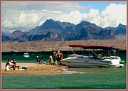 Boats On Water Digital Art Posters - On Havasu Beach 2 Poster by Ronald Chambers