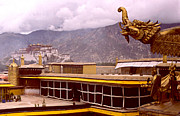 Rooftop Prints - On Jokhang Monastery Rooftop Print by Anna Lisa Yoder