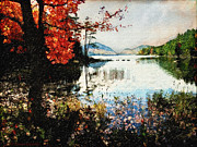 """fall Foliage"" Digital Art - On Jordan Pond by Lianne Schneider"