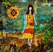 Janelle Nichol Posters - On My Way Home Unique Abstract Folk Art painting Poster by Janelle Nichol