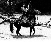 Winter Night Drawings Metal Prints - On Patrol Metal Print by Bruce Kay