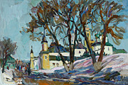 Russia Paintings - On road to spring by Juliya Zhukova