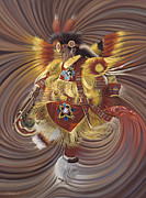 Native American Painting Metal Prints - On Sacred Ground Series 4 Metal Print by Ricardo Chavez-Mendez