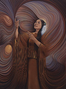 Brown Tones Painting Prints - On Sacred Ground Series V Print by Ricardo Chavez-Mendez