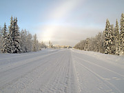 Winter Roads Art - On Swedish Winter Roads by Torfinn Johannessen
