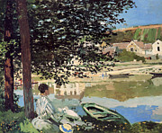 Monet Lady Posters - On the Bank of the Seine Poster by Claude Monet