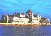 Blue Danube Posters - On The Banks Of The Danube Poster by SophiaArt Gallery