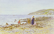 On The Beach Print by Helen Allingham