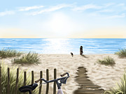 Summer Digital Art - On the beach by Veronica Minozzi
