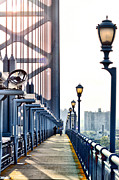 Walkway Digital Art - On The Ben Franklin Bridge by Bill Cannon