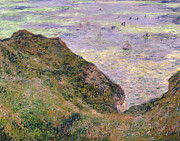 Sea Framed Prints - On the cliff at Pourville Framed Print by Claude Monet