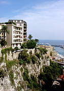 Seaside Framed Prints - On the Cliff in Monaco Framed Print by Julie Palencia