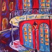 Mardi Gras Paintings - On the Corner by Mary DeSilva