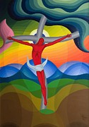 Multicolored Paintings - On the Cross by Emil Parrag