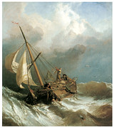 Sailboat Ocean Paintings - On the Dogger Bank by Clarkson Stanfield