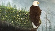 Eagle Paintings - On the edge by Gilles Delage