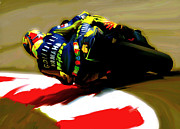 Valentino Rossi Posters Drawings - On The Edge Valentino Rossi by Iconic Images Art Gallery David Pucciarelli