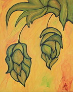 Hops Painting Framed Prints - On the Hop Vine  Framed Print by Alexandra Ortiz de Fargher