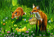 Easter Eggs Paintings - On The Hunt by Jacquelin Vanderwood