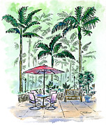 Patio Framed Prints - On The Lanai Framed Print by Diane Thornton