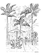 Umbrella Drawings Prints - On The Lanai ink only Print by D S Thornton