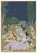 Champagne Painting Prints - On the Lawn Print by Georges Barbier