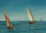 Sailing Paintings - On the Mediterranean  by Albert Bierstadt