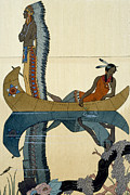 Indian Feather Framed Prints - On the Missouri Framed Print by Georges Barbier