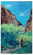 Hiker Paintings - On The Path by Joseph Wetzel