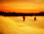 Pond Hockey Painting Prints - On the Pond with Dad Print by Desmond Raymond