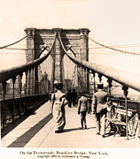 Nyc Digital Art Metal Prints - On the Promenade Brooklyn Bridge 1899 Metal Print by Digital Reproductions