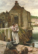 Quay Wall Framed Prints - On The Quay Newlyn Framed Print by Walter Langley
