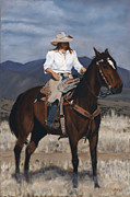 Arizona Cowgirl Framed Prints - On the Range Framed Print by Jack Atkins