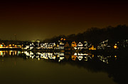 Phila Posters - On the River at Night -  Boathouse Row Poster by Bill Cannon