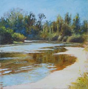 Landscape Posters Pastels Posters - On The River Poster by Nancy Stutes