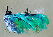 Sports Art Paintings - On The River Sports Art Abstract Art by Catherine Jeltes