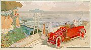 Vintage Car Drawings Prints - On the road to Naples Print by Aldelmo