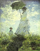 Monet Lady Posters - On the Rock Cliff - Madame Monet and her Son Jean Poster by Claude Monet