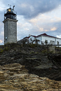 Ri Lighthouse Prints - On The Rocks at Beavertail Print by Andrew Pacheco