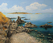 European Artwork Painting Prints - On The Rocks in The Old Part of Sozopol Print by Kiril Stanchev