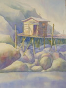 Fishing Shack Paintings - On The Rocks by Leona Ottenheimer