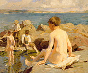 Children At Beach Prints - On the Rocks Near Newlyn Print by Harold Harvey