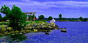 Summer Along The Canal Paintings - On The Rocks Waiting For The Boats To Pass By Lachine Canal Montreal Summer Scenes Carole Spandau by Carole Spandau