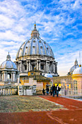 Winter Travel Photo Posters - On The Roof Of St Peters In Rome Poster by Mark E Tisdale